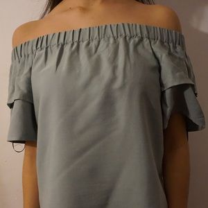 Sage green off the shoulder top